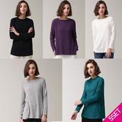 Set 5 áo Tshirt dài tay cổ tròn nữ thời trang LeOT
