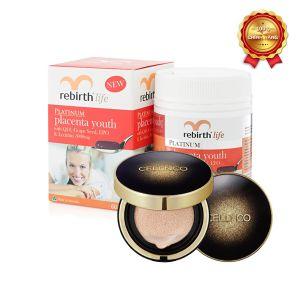 Combo TPCN viên uống nhau thai cừu Rebirth (RL01) + phấn nước trang điểm Cellnco (15g) #23 Natural Beige
