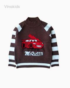 Áo len bé trai cổ ba phân hình ô tô MC màu cafe (2-9 tuổi)