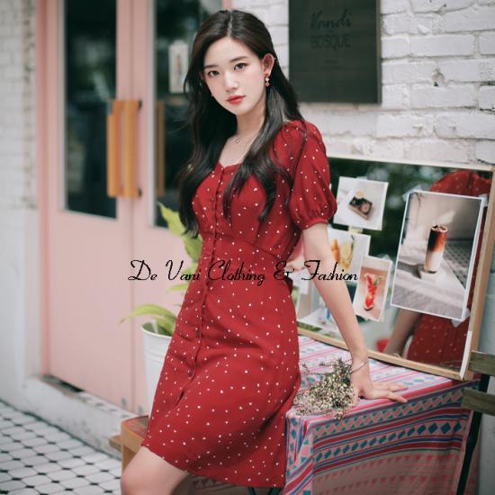 Đầm tay ngắn De Vani màu đỏ bi trắng CARDI DRESS