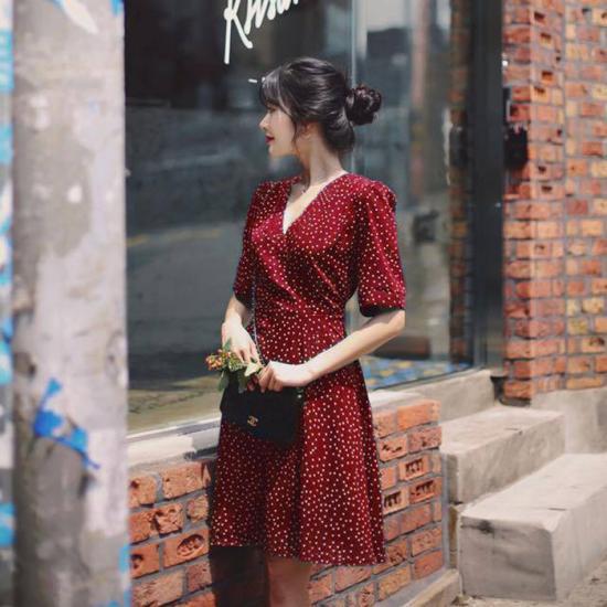 Đầm tay ngắn De Vani màu đỏ TIKO DRESS_DO