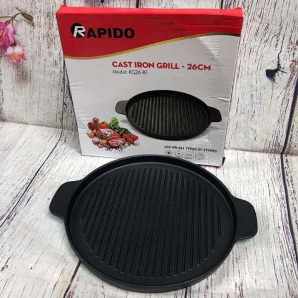 Chảo Gang Nướng 26cm Rapido Cast Iron Grill Dùng Bếp Từ