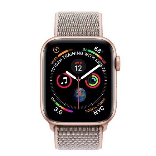Apple Watch 4 44mm (GPS) Viền Nhôm Vàng - Dây Vải Hồng Chính hãng (MU6G2)