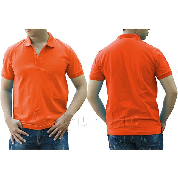 Áo thun cổ trụ có túi - Màu cam đậm