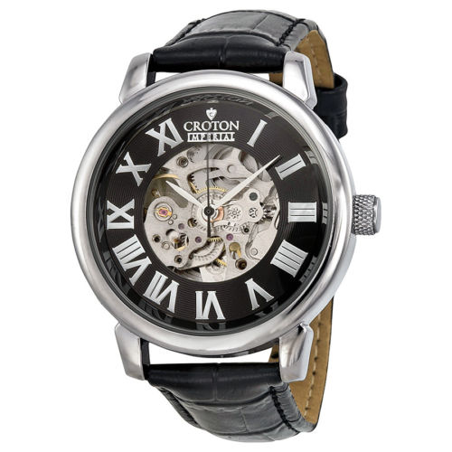 Đồng hồ nam Croton C1331072BSSL Automatic Black Leather Skeleton