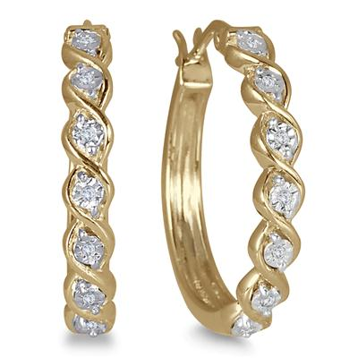 Hoa tai DIAMOND HOOP EARRINGS IN PLATED STERLING SILVER