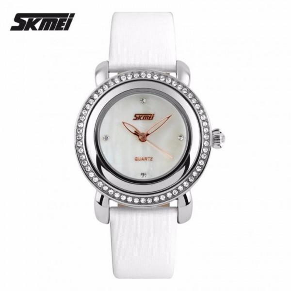Đồng hồ nữ thời trang mặt gắn đá Skmei 35mm Trắng