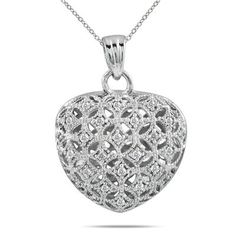 Dây chuyền 1/4 CARAT DIAMOND HEART PUFF PENDANT ON .925 STERLING SILVER