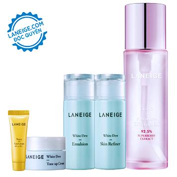 Bộ dưỡng da trắng hồng không ngại nắng Laneige Clear-C Advanced Effector