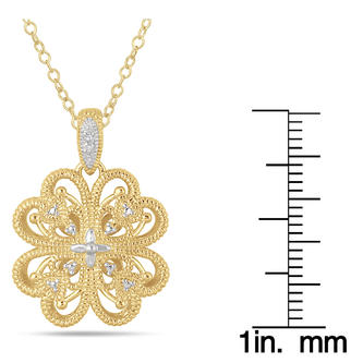 Dây chuyền DIAMOND FILIGREE ENGRAVED PENDANT IN 18K GOLD PLATED STERLING SILVER