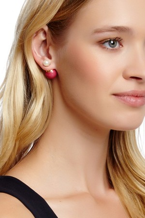 Hoa tai 18K Gold Plated Double Sided Pearl Earrings Hoa tai 18K Gold Plated Double Sided Pearl Earrings