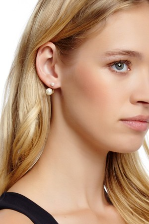 Hoa tai 18K Gold Plated Faux Pearl Drop Earrings
