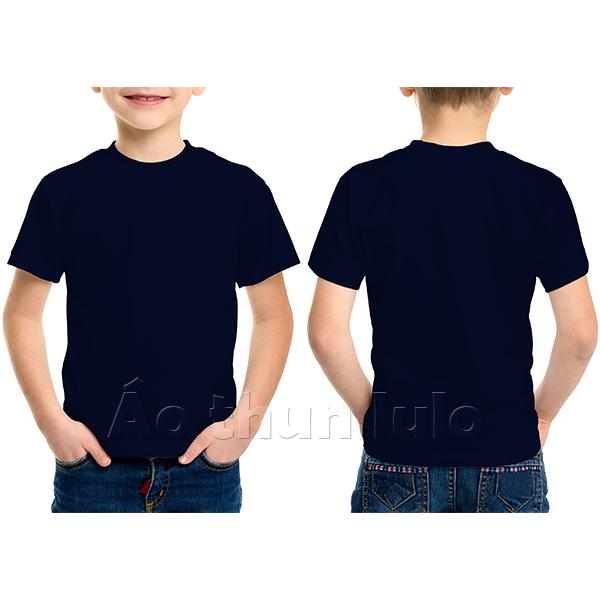 Áo thun cổ tròn trẻ em - Màu xanh navi/xanh đen