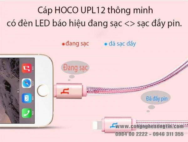 HOCO - Cáp sạc UPL12 cổng Lightning - Báo đèn - 120cm