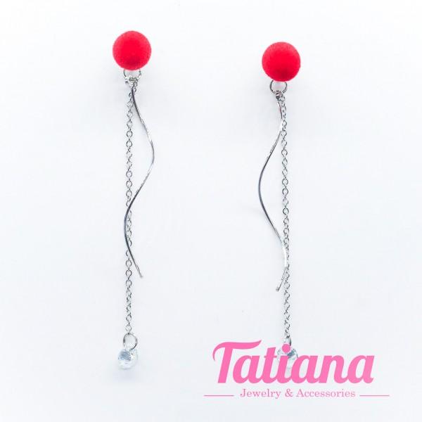 Bông Tai Gợn Sóng Đính Nhung Đỏ - Tatiana - BH3198