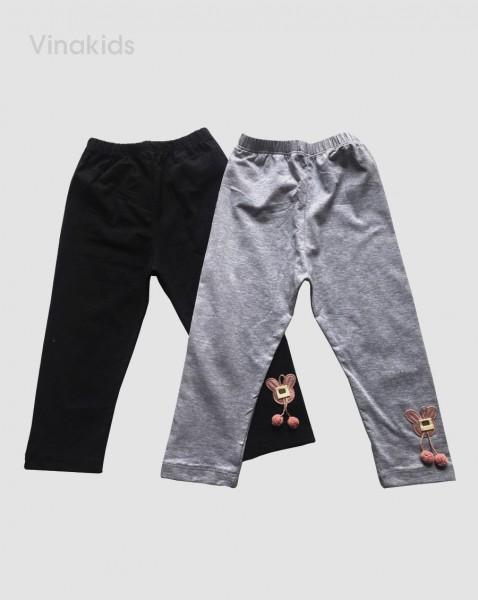 Quần legging bé gái hình mặt thỏ màu đen (1-7 tuổi)