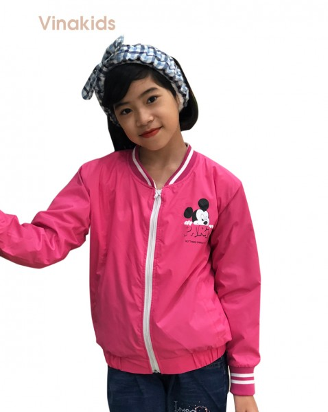 Áo khoác gió bé gái hình mickey màu hồng sen (8-12 tuổi)