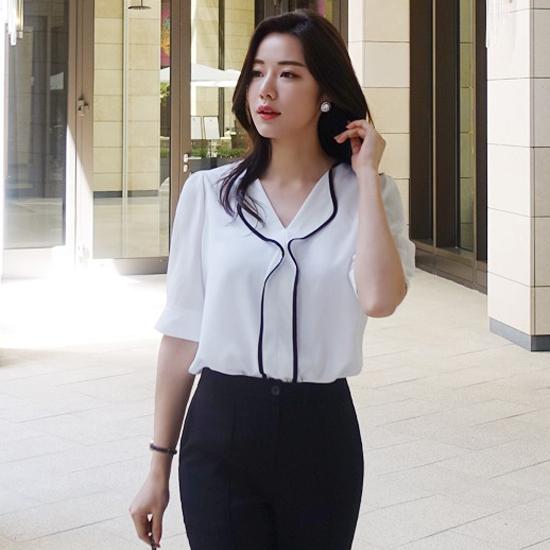 Áo kiểu nữ trắng cổ viền đen ngọt ngào Quyên AA 164 1947440