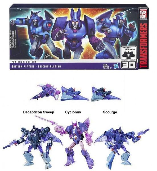 Bộ 3 Robot Transformers Platinum Edition Armada Of Cyclonus - Scourge - Decepticon Sweep Box