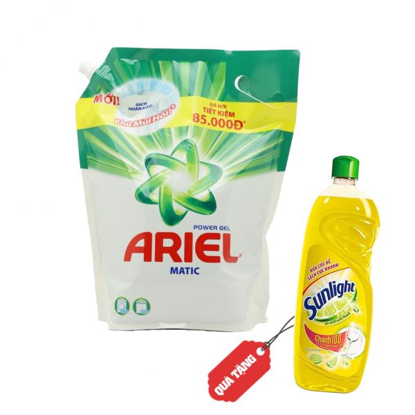 Nước giặt Ariel đậm đặc SPT túi 3.6 kg Tặng Nước rửa chén SUNLIGHT Chanh chai 400g