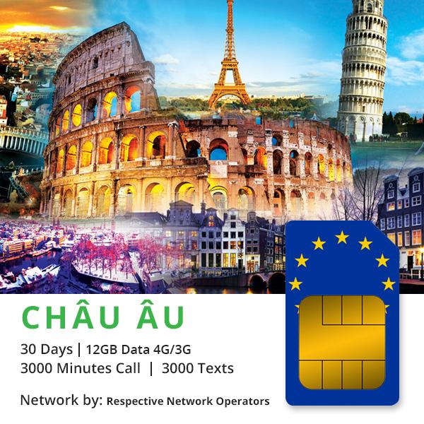 Sim Châu Âu và Thế giới (72 nước) 30 ngày 5GB 4G & Nghe gọi