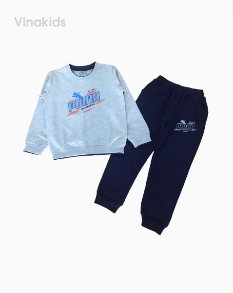 Đồ bộ bé trai thể thao Puma màu ghi (7-12 tuổi)