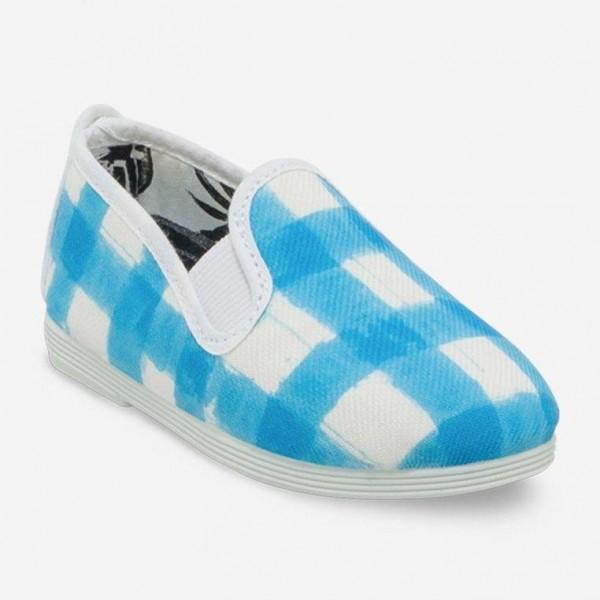Giày Lười Flossy Jaen (Trắng caro xanh da trời)