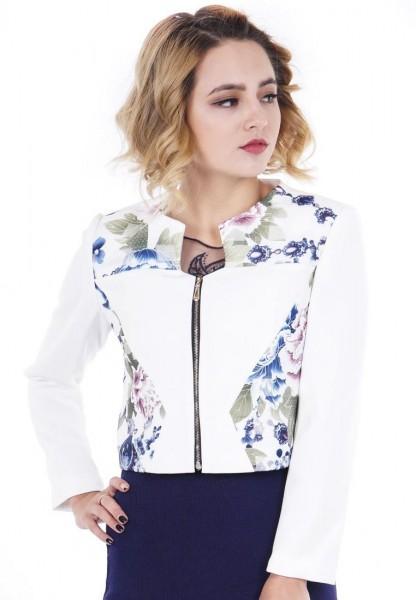 Áo Vest Suông Đắp Vải Hoa LAMER L65B16T006-S1500 (Trắng)