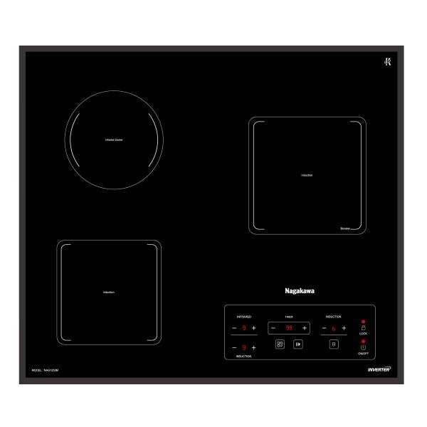 Bếp 3 lò điện từ hồng ngoại Nagakawa NAG1253M Tặng lọc không khí NAG3501M + Bộ nồi 1351