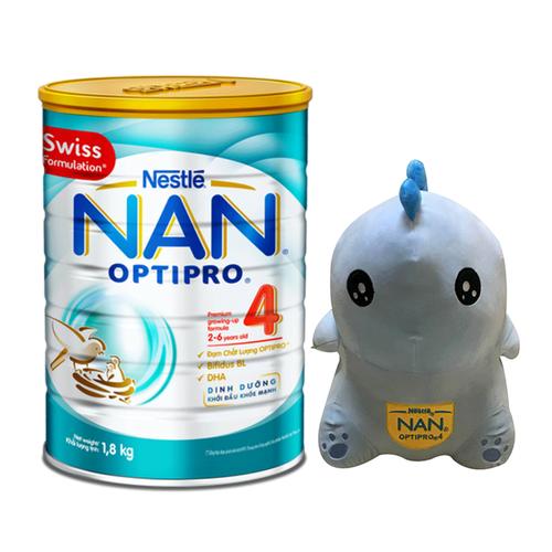 Mua 1 Lon Sữa Bột Nestle NAN Optipro 4 - 1.8kg, Tặng 1 thú nhồi bông khủng long khủng lồ