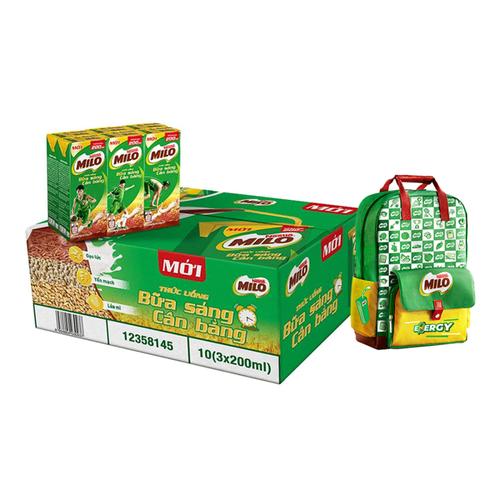 Mua 1 Thùng 30 hộp Nestlé MILO Uống Liền Bữa Sáng - 10 lốc x 3 hộp x 195ml, tặng 1 ba lô năng lượng cực cool