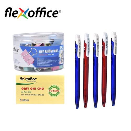 Combo văn phòng giấy ghi chú - bút bi - kẹp bướm - combovp1