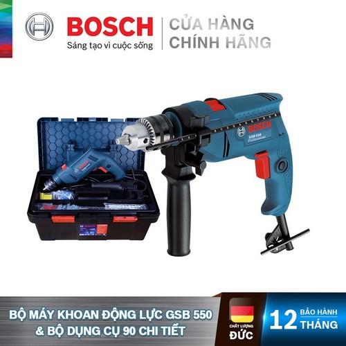 Máy khoan động lực Bosch GSB 550 Tặng bộ phụ kiện FREEDOM 90 chi tiết - 3165140853002