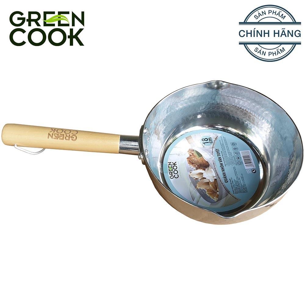 Quánh nồi nhôm vân tuyết 20 cm Green Cook GCS04-20 tay cầm bằng gỗ chắc chắn - GCS04-20