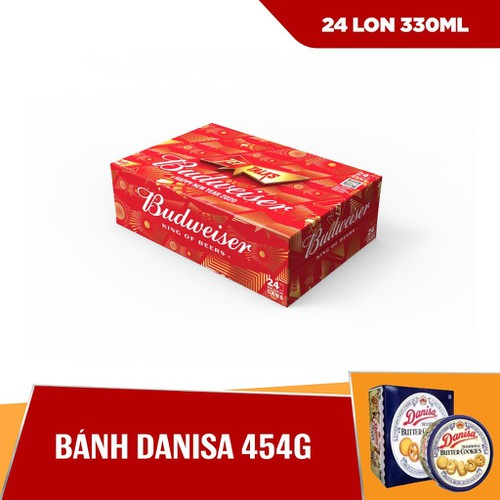 [HCM] Combo Thùng Budweiser 24 lon 330ml & Bánh Danisa 454g
